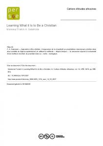 Learning What it Is to Be a Christian