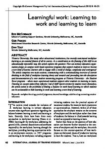Learningful work: Learning to work and learning to learn