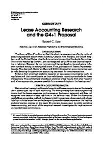 Lease Accounting Research and the G4+1 Proposal - College of ...