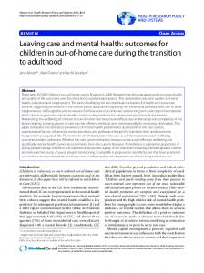 Leaving care and mental health - Health Research Policy and Systems