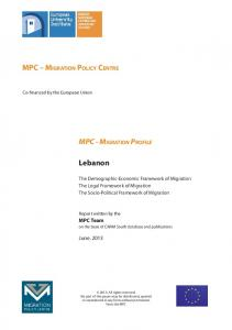 Lebanon's Migration Profile - Migration Policy Centre