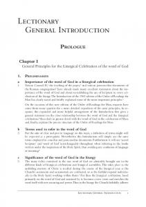 Lectionary General Introduction - Liturgy Office