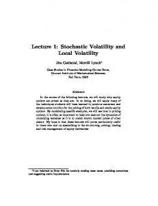 Lecture 1: Stochastic Volatility and Local Volatility models