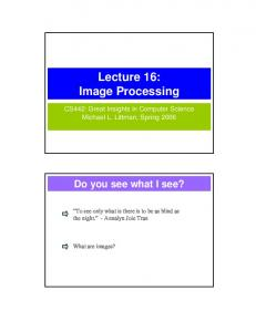 Lecture 16: Image Processing