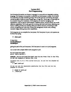 Lecture 20-2 Perl Programming