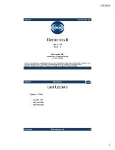 Lecture # 20 - Electronics II