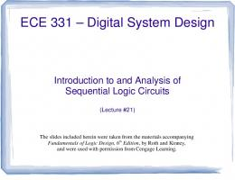 Lecture #21 - Introduction to and Analysis of Sequential Logic Circuits