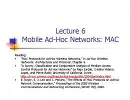 Lecture 23: Mobile Ad-Hoc Networks