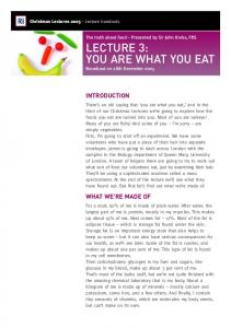 LECTURE 3: YOU ARE WHAT YOU EAT - The Royal Institution