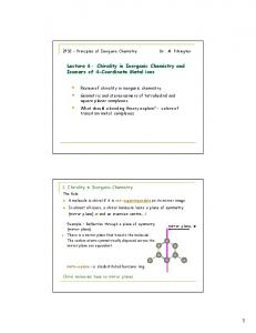 Lecture 6 - Chirality in Inorganic Chemistry and Isomers of 4 ...