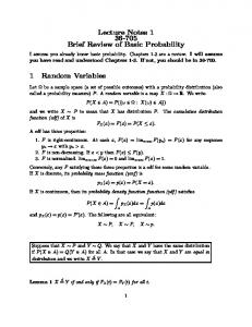 Lecture Notes 1 1 Probability Review
