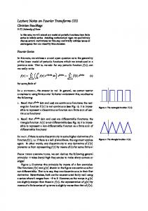 Lecture Notes on Fourier Transforms (III)