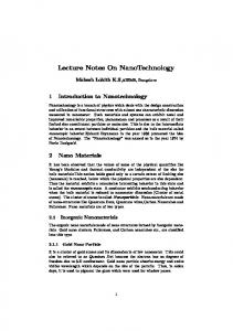 Lecture Notes On NanoTechnology
