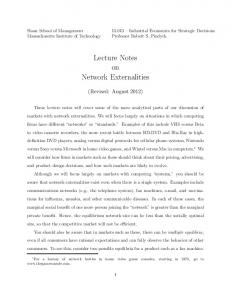 Lecture Notes on Network Externalities