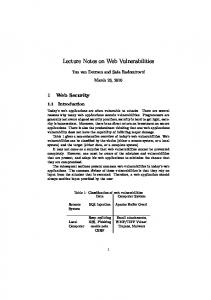 Lecture Notes on Web Vulnerabilities