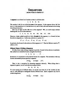 Lecture Notes - Sequences