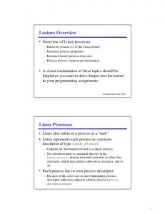 Lecture Overview Linux Processes