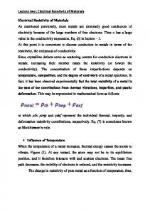 Lecture two : Electrical Resistivity of Materials Electrical Resistivity of ...