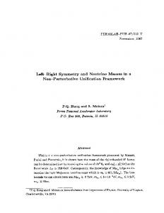 Left-Right Symmetry and Neutrino Masses in a Non ... - Fermilab