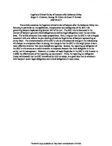 Legal and Ethical Duties of Lawyers after Sarbanes-Oxley ... - SSRN
