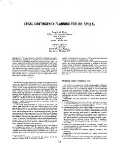 Legal Contingency Planning for Oil Spills