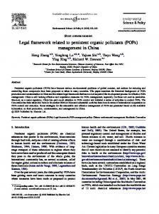 Legal framework related to persistent organic ...