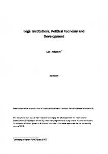 legal institutions, political economy and development - CiteSeerX