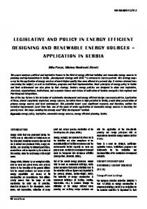 Legislative and policy in energy efficient designing and renewable