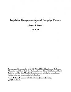 Legislative Entrepreneurship and Campaign Finance