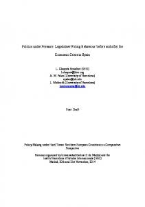 Legislative Voting Behaviour before and after the Economic Crisis in ...