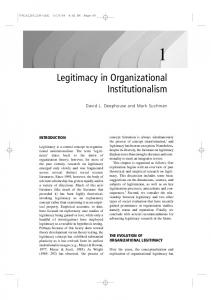 Legitimacy in Organizational Institutionalism - University of Alberta