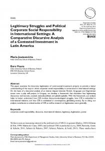 Legitimacy Struggles and Political Corporate Social Responsibility in ...