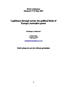 Legitimacy through norms: the political limits of Europe's ... - Core