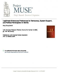 Legitimate Grievances Preferences for Democracy, System Support ...
