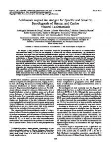 Leishmania major-Like Antigen for Specific and Sensitive ...