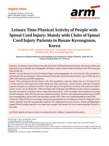 Leisure Time Physical Activity of People with
