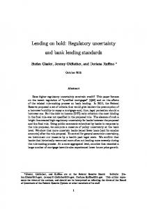 Lending on hold: Regulatory uncertainty and bank lending ... - CiteSeerX