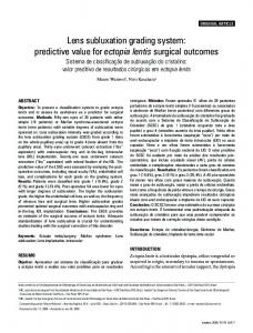 Lens subluxation grading system: predictive value for ectopia lentis ...