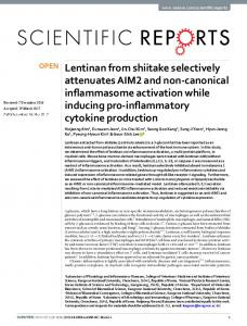 Lentinan from shiitake selectively attenuates AIM2 ...