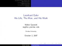 Leonhard Euler His Life, The Man, and His Work