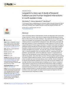 Leopard in a tea-cup: A study of leopard habitat-use and ... - PLOS