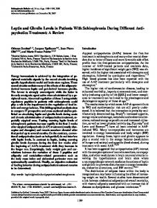 Leptin and Ghrelin Levels in Patients With Schizophrenia During ...