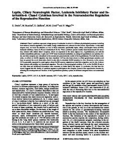 Leptin, Ciliary Neurotrophic Factor, Leukemia Inhibitory Factor and In ...