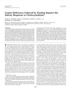 Leptin Deficiency Induced by Fasting Impairs the ... - Semantic Scholar