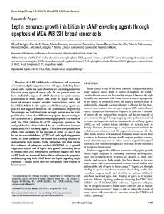 Leptin enhances growth inhibition by cAMP elevating agents through ...