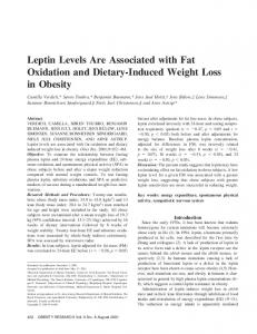 Leptin Levels Are Associated with Fat Oxidation ... - Wiley Online Library