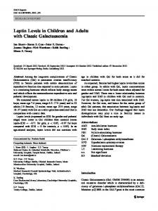 Leptin Levels in Children and Adults with Classic Galactosaemia - Core