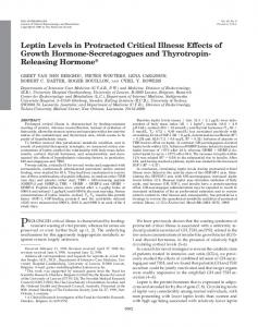 Leptin Levels in Protracted Critical Illness: Effects of Growth Hormone ...