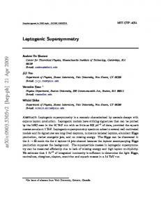 Leptogenic Supersymmetry