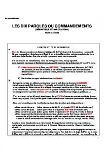 LES DIX PAROLES OU COMMANDEMENTS